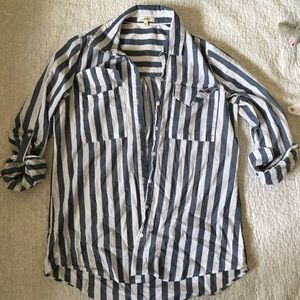 Live 4 Truth women's blue and white striped shirt